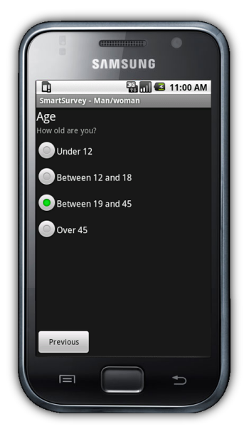 SmartSurvey running on Android